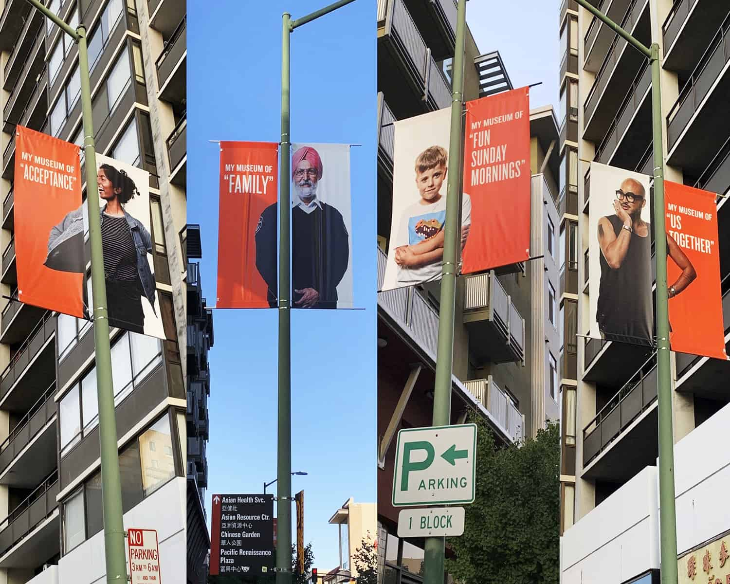 ONE by ONE Community Portrait OMCA street banners